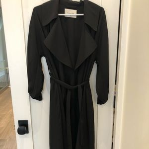 Aritzia black flowy oversized trench coat